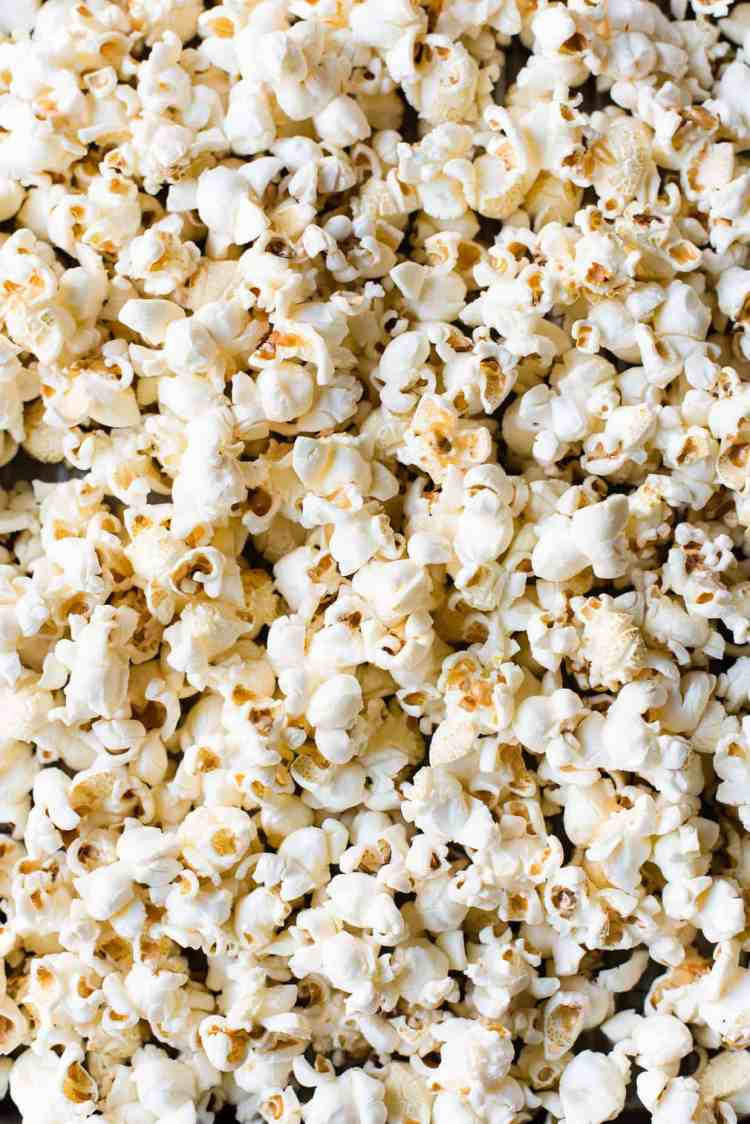 Close up of stovetop popped popcorn.