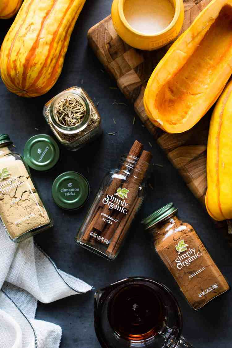 Simply Organic cinnamon and rosemary spices for a hasselback delicata squash recipe.