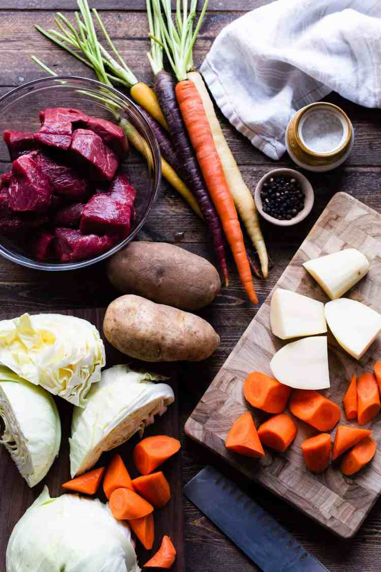 Ingredients for Beef Nilaga: beef, potatoes, carrots and cabbage - are delicious in Beef Nilaga, a  Filipino Beef and Vegetable Soup.