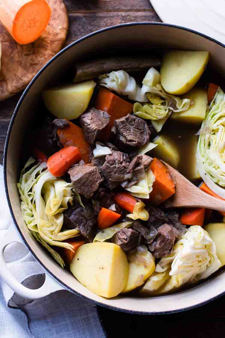Beef Nilaga - Filipino Beef and Vegetable Soup in a dutch oven.