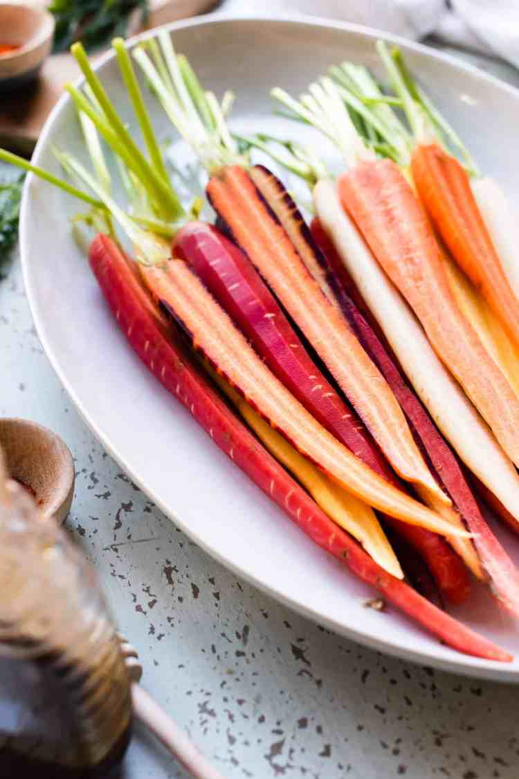 Prepped carrots for Honey-Spice Glazed Carrots.