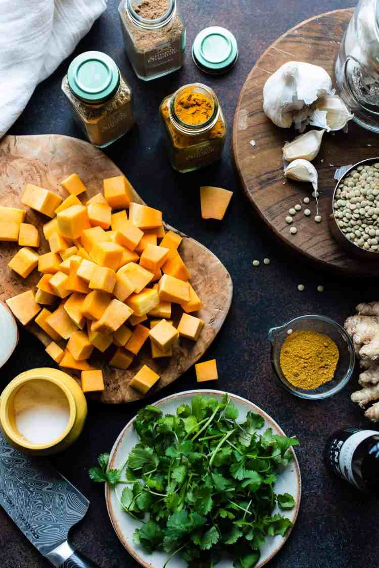 Ingredients for Curried Butternut Squash Lentil Soup