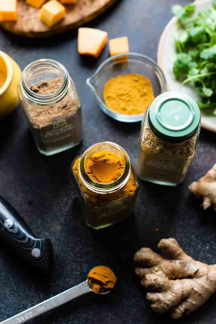 Spices for Curried Butternut Squash Lentil Soup.