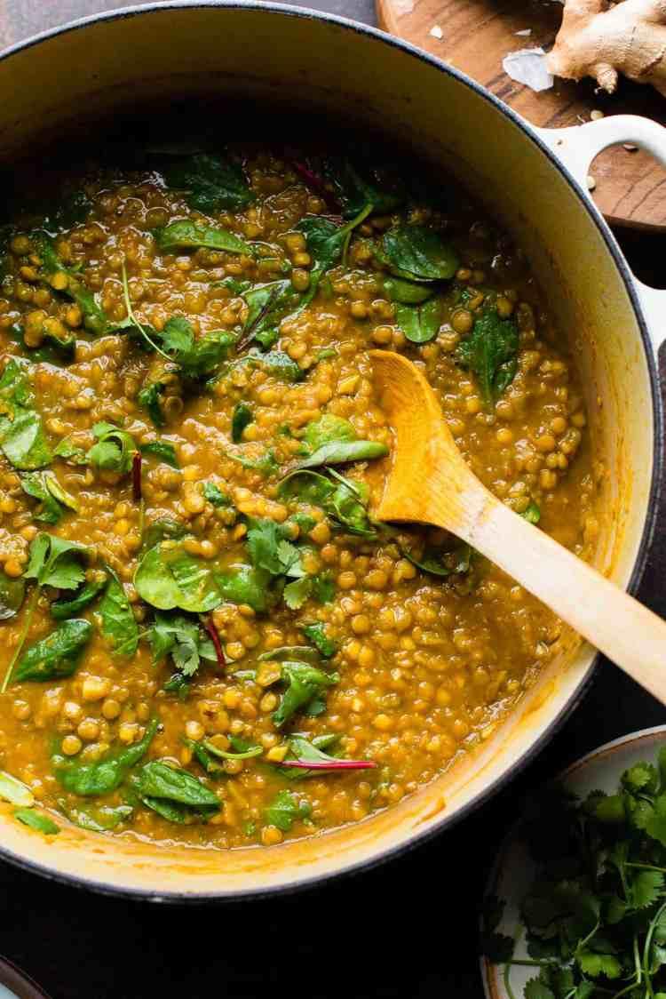 Curried Butternut Squash Lentil Soup in a pot.