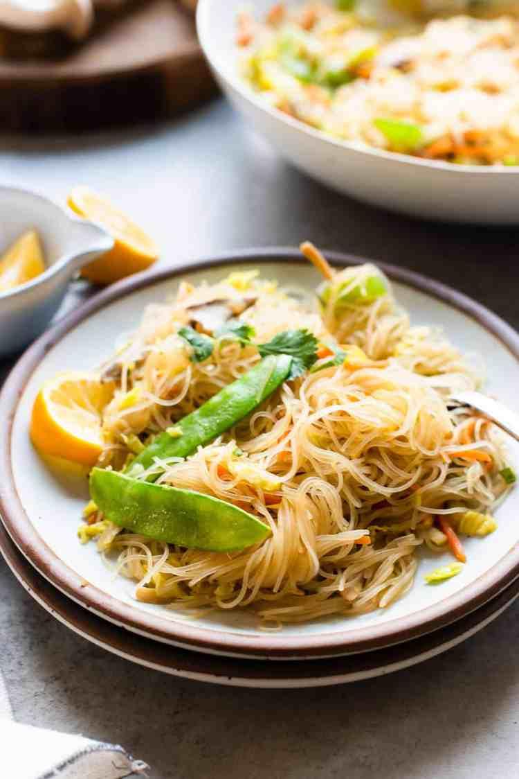 A serving of vegetarian pancit bihon on a plate.