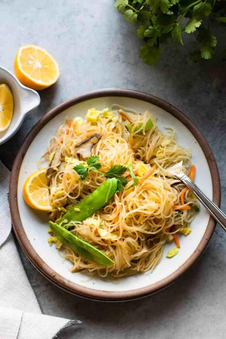Serving of Vegetarian Pancit Bihon - rice noodles with veggies.