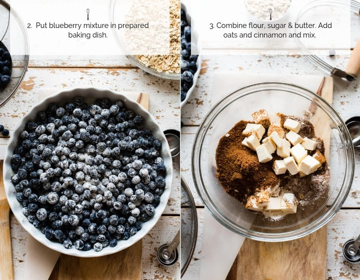 Instructions for how to make Blueberry Crisp.