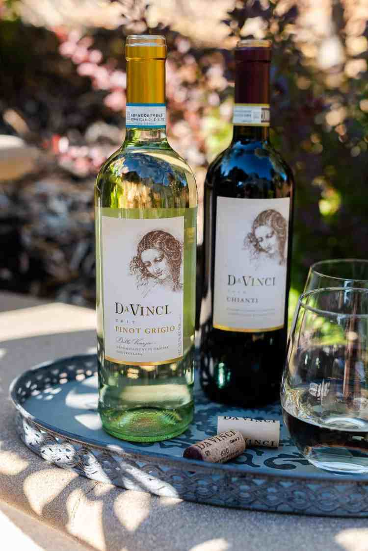 DaVinci Wines on a serving tray.