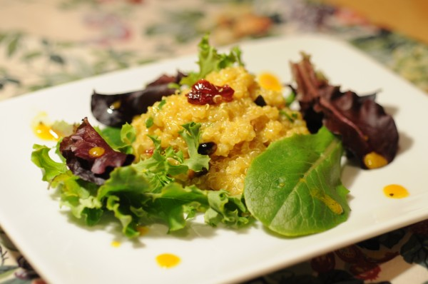 Quinoa, Apple, and Dried Cranberry Salad with Honey- Curry Vinaigrette