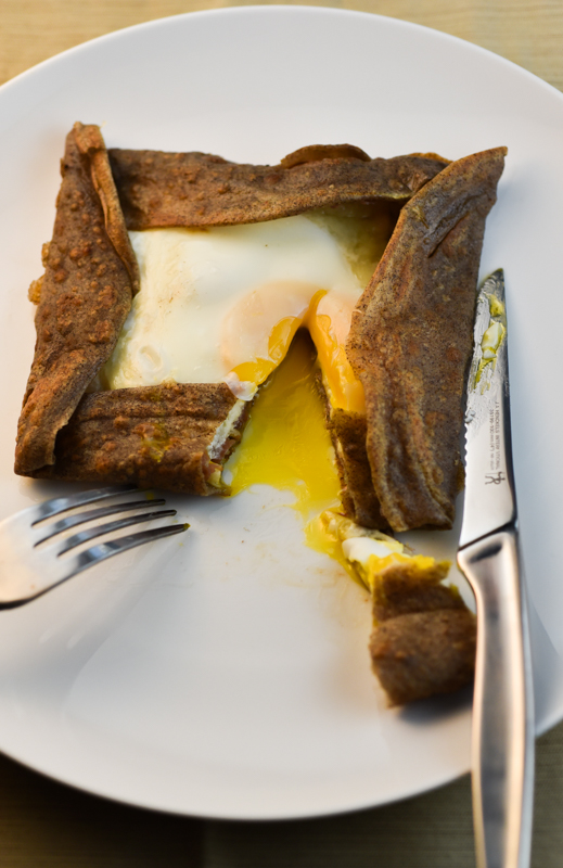 Buckwheat Crepes with ham, cheese and egg