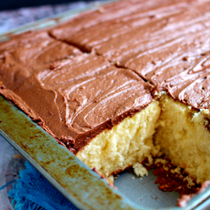 Yellow Sheet Cake with Chocolate Frosting