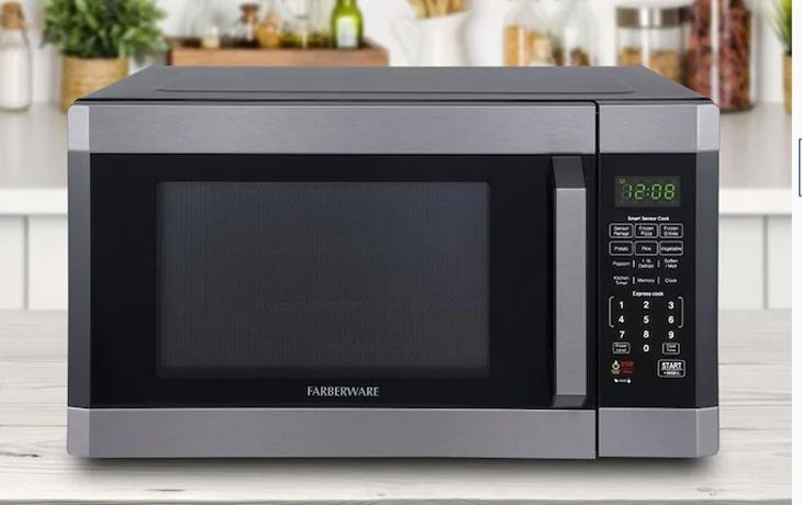 farberware black fmo16ahtbsd 1 6 cu ft 1100 watt microwave oven with smart sensor cooking eco mode and led lighting black stainless steel