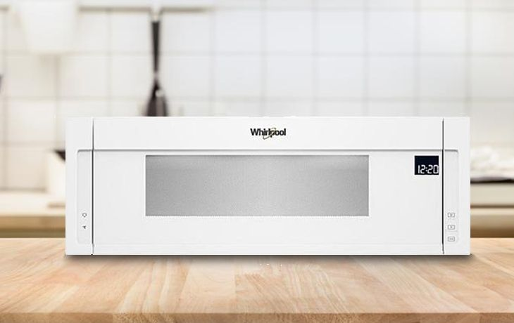 whirlpool wml75011hw 1 1 cu ft low profile over the range microwave oven