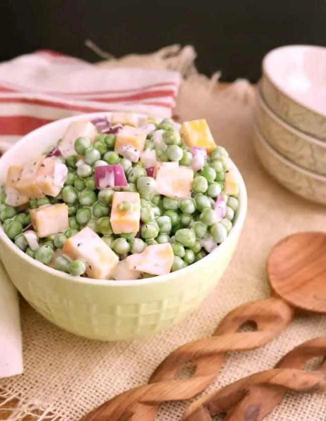 A bowl of english pea salad