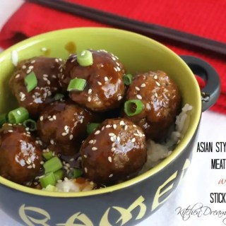 Asian Style Glazed Meatballs with Sticky Rice can use any meat combination you choose, pork,ground turkey, beef or chicken really anything goes.
