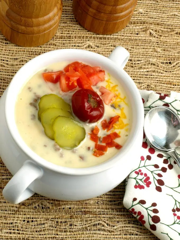 Pub Style Bacon Cheeseburger Soup is an entire meal in one glorious bowl. Hot peppers combined with the richness of the cheese base is really delicious.