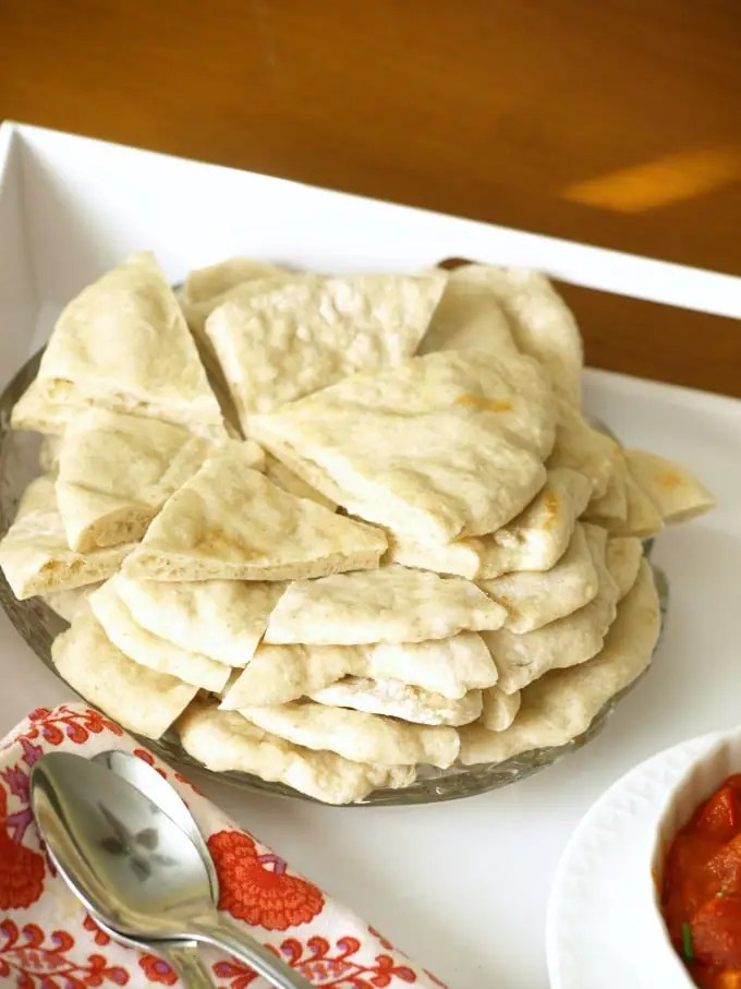 A plate of homemade pita bread