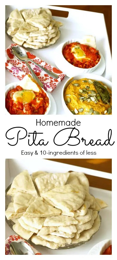 a PInnable Pinterest Image of homemade Pita Bread.