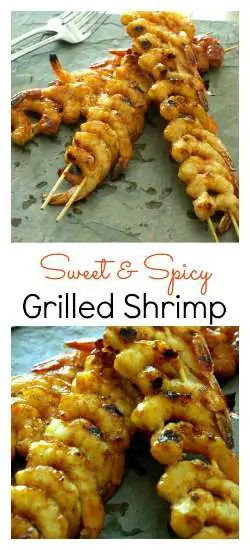 Sweet & Spicy Grilled Shrimp are quick and simple to make and taste amazing fresh off the grill. | KitchenDreaming.com |