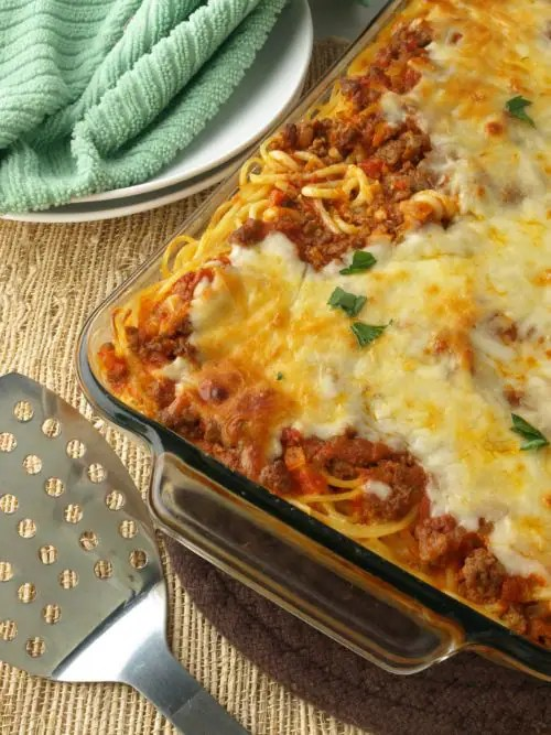 This Baked Spaghetti is super simple to make and takes much less effort than a traditional lasagna.