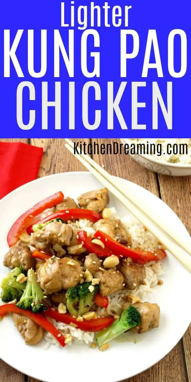 A pinnable Pinterest Image of Kung Pao Chicken