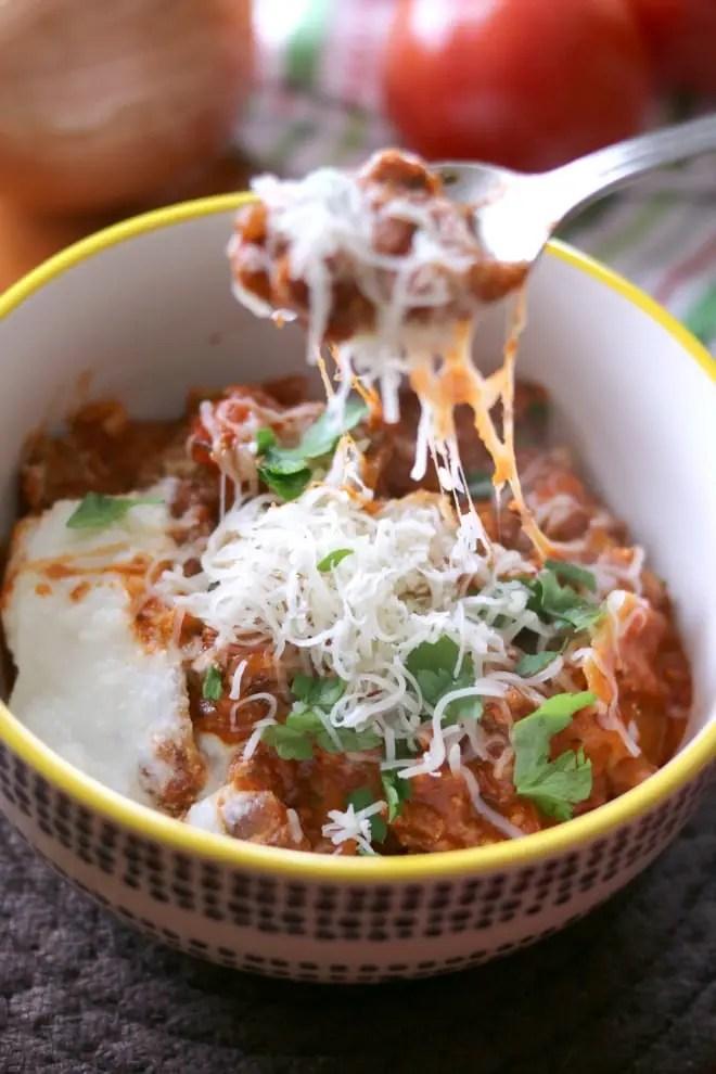 a bowl of skillet lasagna