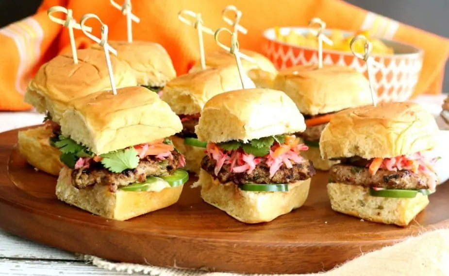 A tray of Vietnamese Banh Mi Sliders
