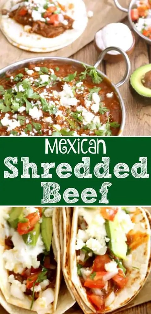 Mexican Shredded Beef is just the thing to jazz up your weeknight tacos and the smoky, slightly spicy sauce is just amazing.
