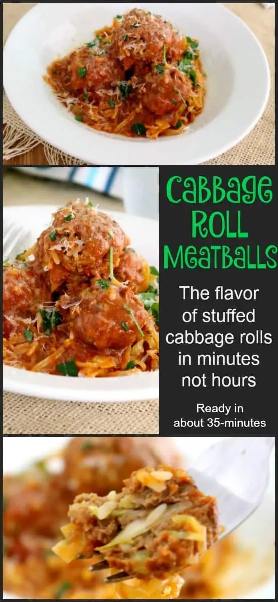 Traditional cabbage rolls are labor intensive and take up a fair amount of the day between the preparation of the filling, parboiling the cabbage, preparing the leaves for stuffing, and then finally slow roasting them in the oven. These Cabbage Roll Meatballs have the same great flavor and are ready in minutes, not HOURS! This entire kid-friendly meal is ready in just over 30-minutes.