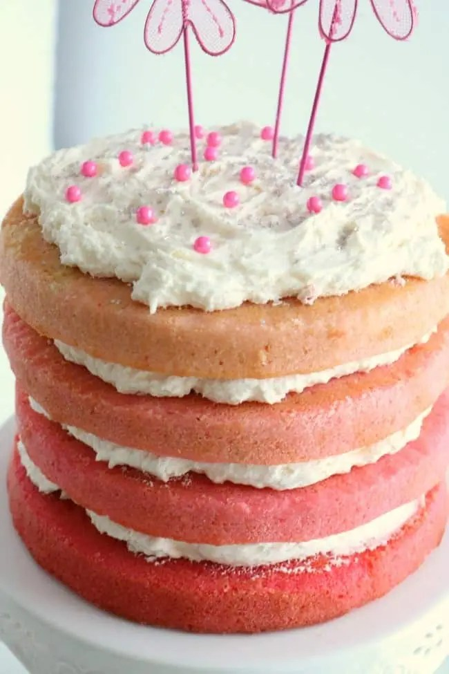 A pink ombre cake on a stand close up