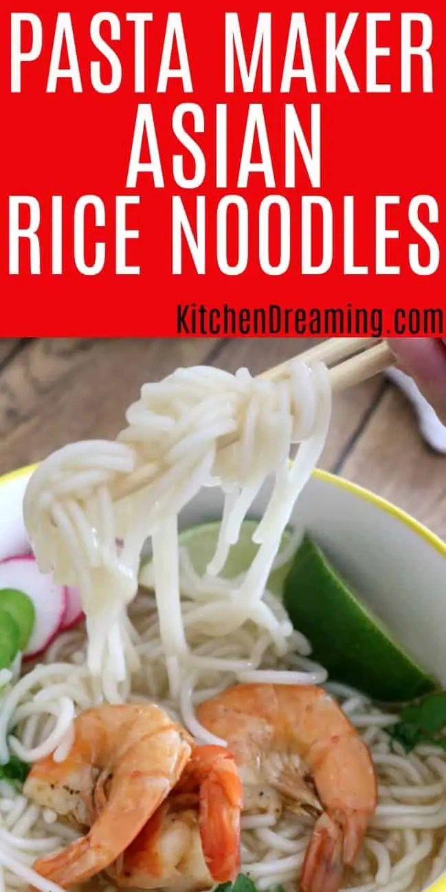 a pinnable image of a bowl of rice noodles