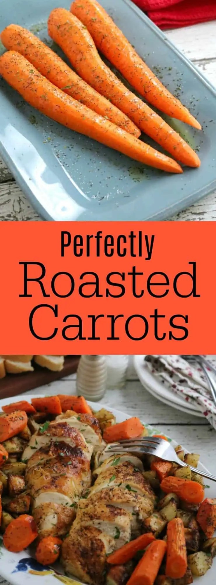 Easy Oven Roasted Carrots are the perfect side for weeknight meals and holiday dinners. {permalink} #Easy #whole #Roasted #Carrots #Oven
