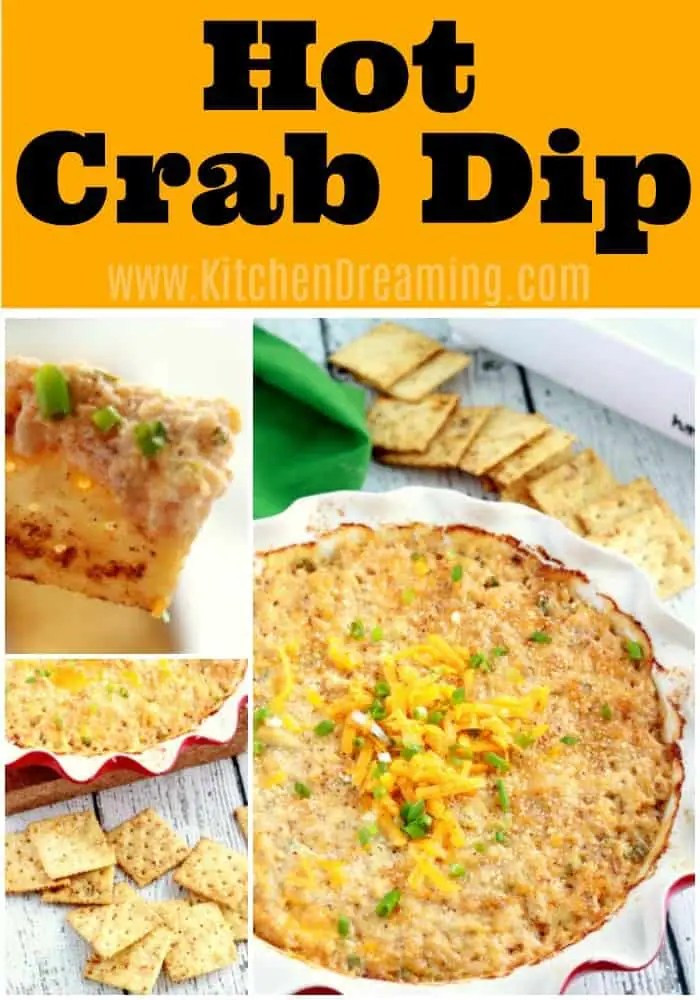 A Pinterest image of Hot Crab Dip in a pie dish alongside seasoned saltine crackers.