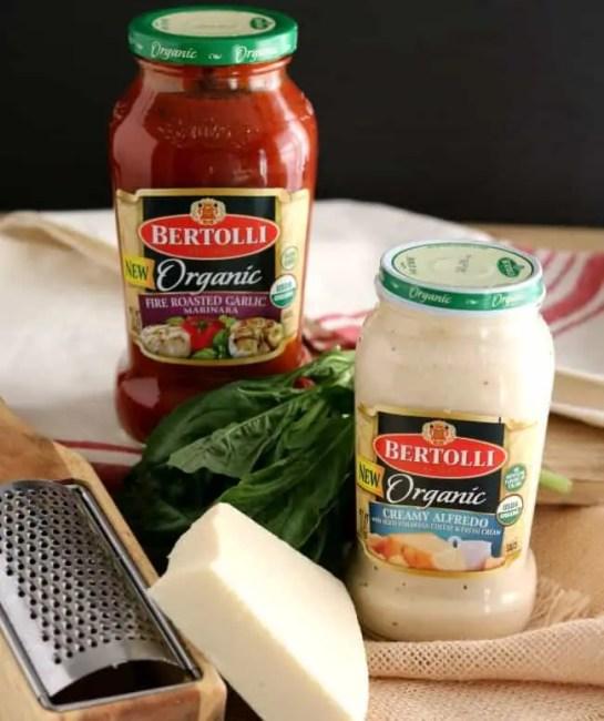 New Bertolli Organic Sauces - Fire Roasted Garlic Marinara and Organic Creamy Alfredo.