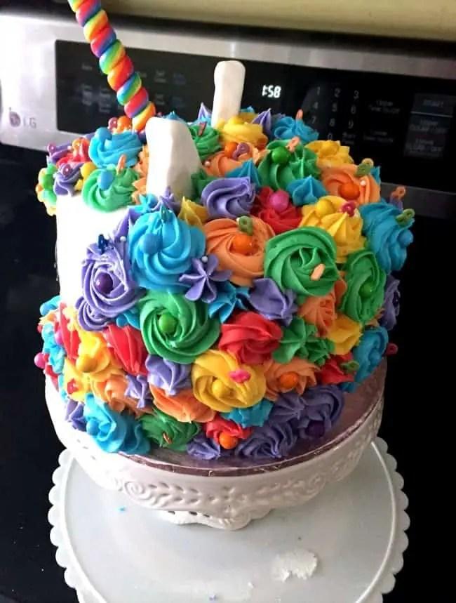 The back of the Mystical Rainbow Unicorn cake.