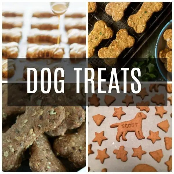 a collage of dog treats including peanut butter, best in breed, and super healthy.