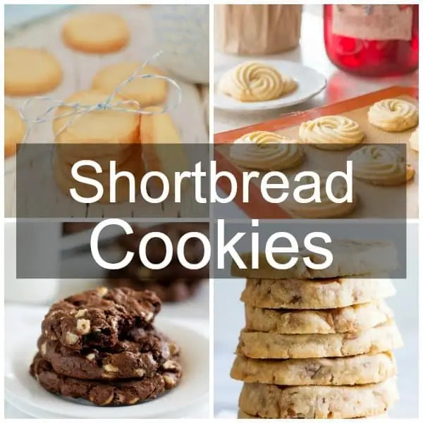 A collage of shortbread cookies; traditional, danish butter, chocolate, and butter pecan.