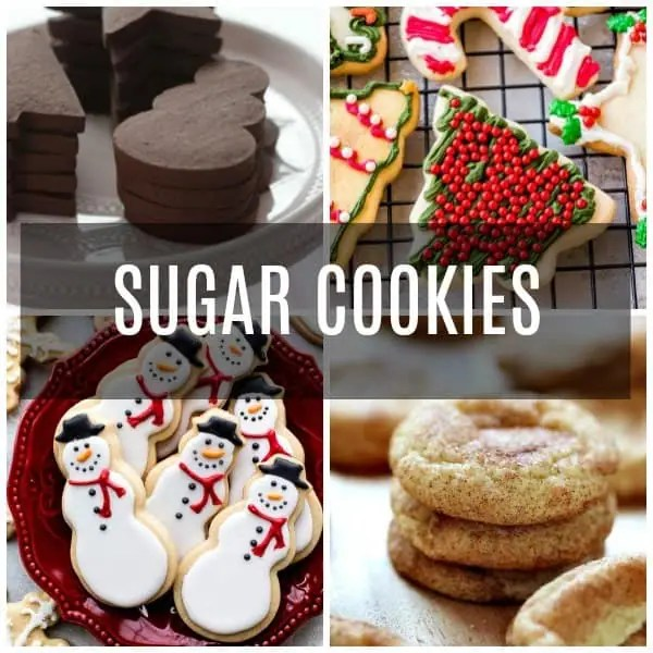 A collage of sugar cookies, chocolate sugar cookies, cut out sugar cookies, snickerdoodles, and decorated sugar cookies.