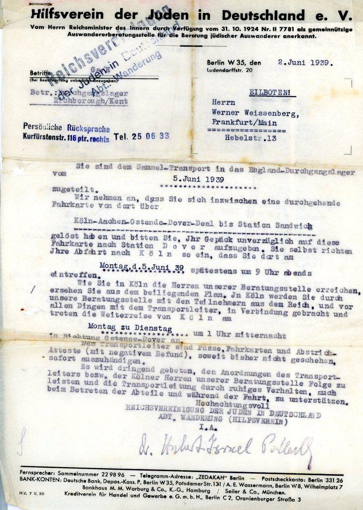 Letter: Hilfsverein 2nd June 1939