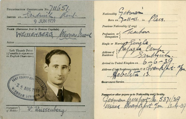 Werner Weissenberg Certificate of Enemy Alien registration pages 1 & 2