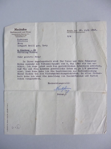 Kitchener camp; Walter Brill letter, 1949