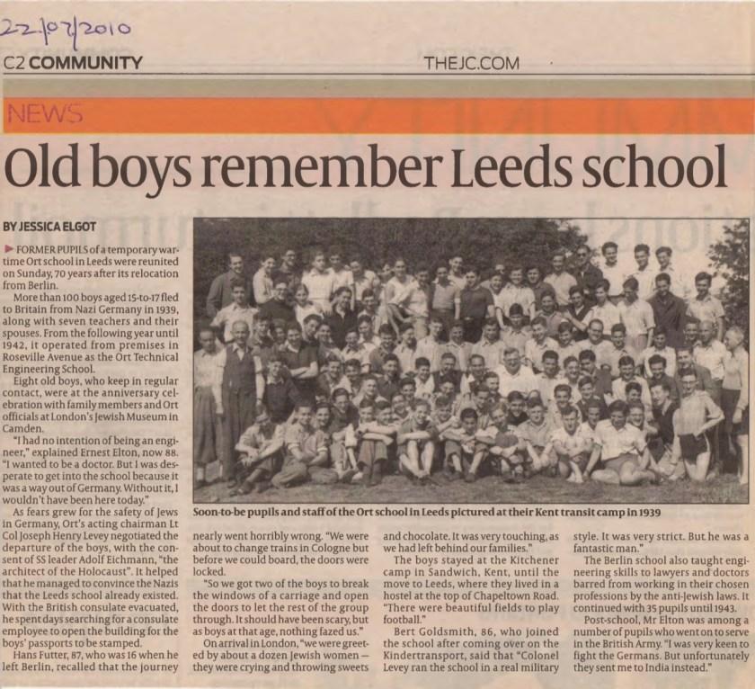 Kitchener camp, Joachim Reissner, Jewish Chronicle article, 2010