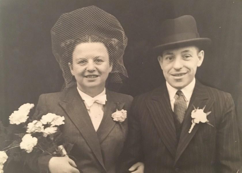Kitchener camp, Hans Friedmann, with Charlotte, wedding day, October 1946