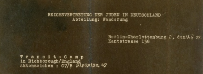 Kitchener camp Reichsvertretung 17th March 1939, letter heading
