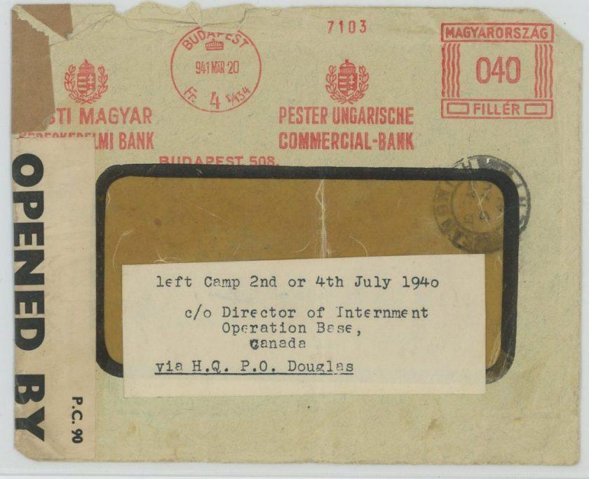 Eduard Elias, Envelope, 20 March 1941, Budapest, Canada