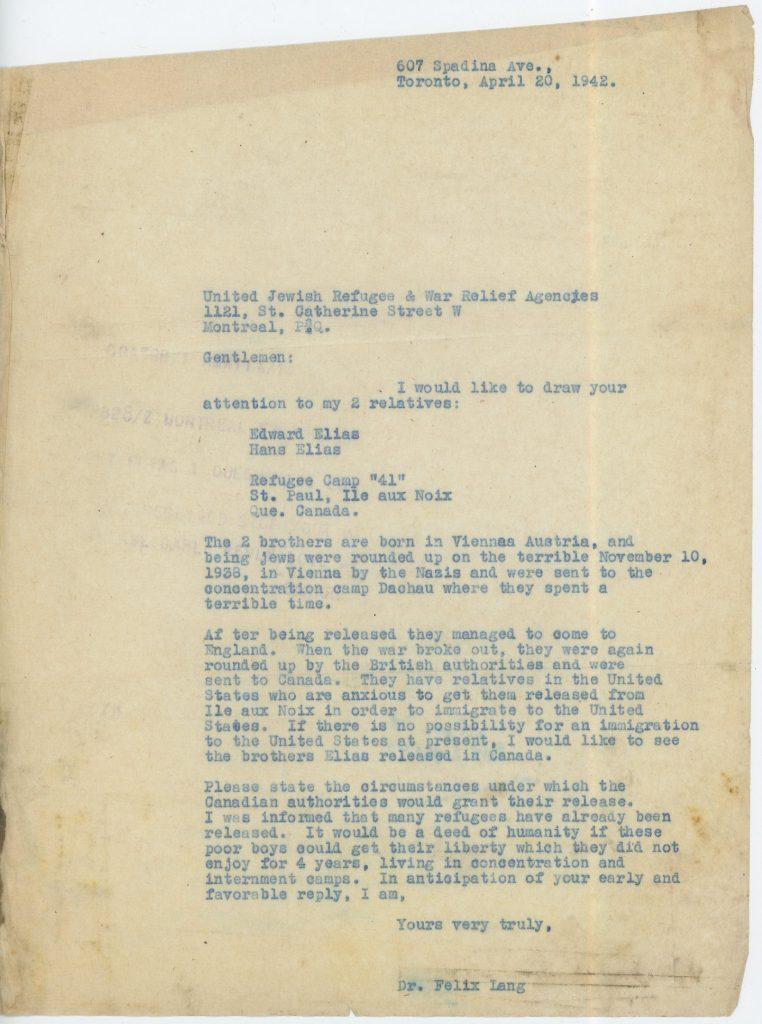 Canada camp, Eduard Elias, Letter 20 April 1942, ORT, Bloomsbury House, Camp 41 Ile aux Noix