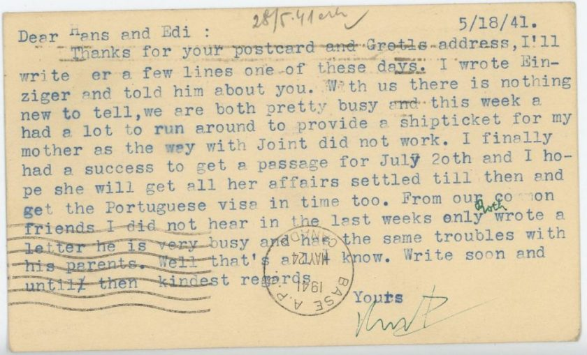 Eduard Elias, number 136, Internment camp 1, Canada, Postcard, 18 May 1941, American Joint Jewish Distribution Committee, Portuguese visa