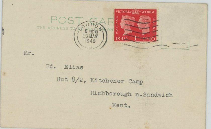 Kitchener camp, Eduard Elias, Postcard, address, 23 May 1940
