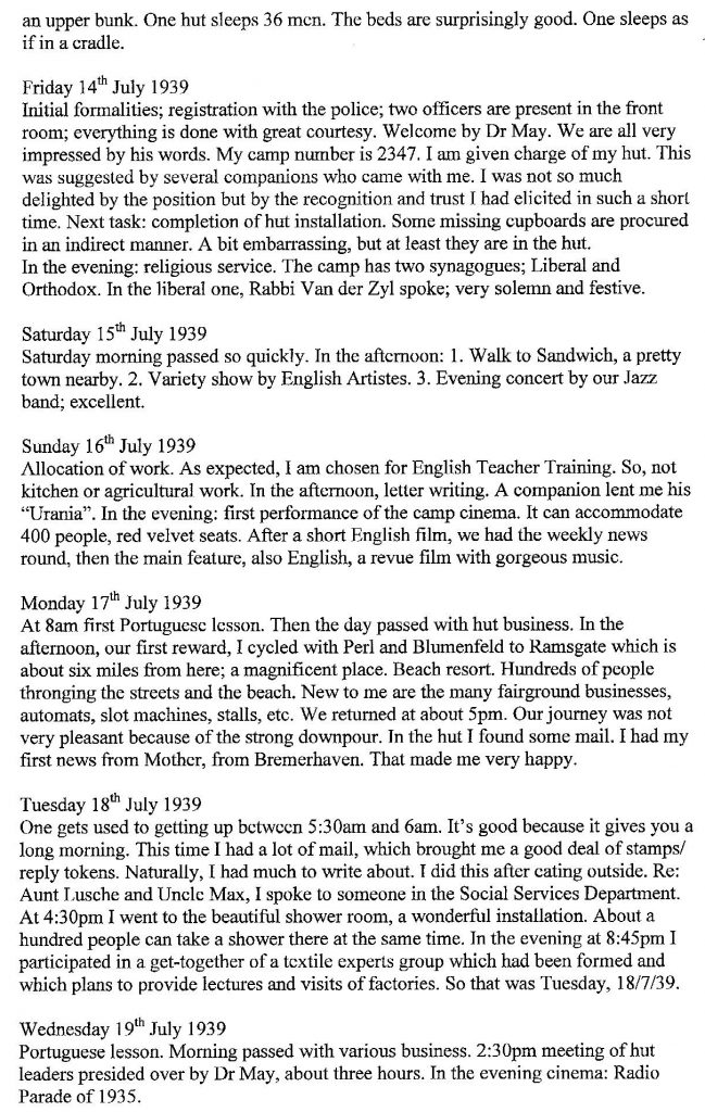 Lothar Nelken, Kitchener Camp diary, 1939 to 1940, Friday 14 July to 19 July 1939, page 2