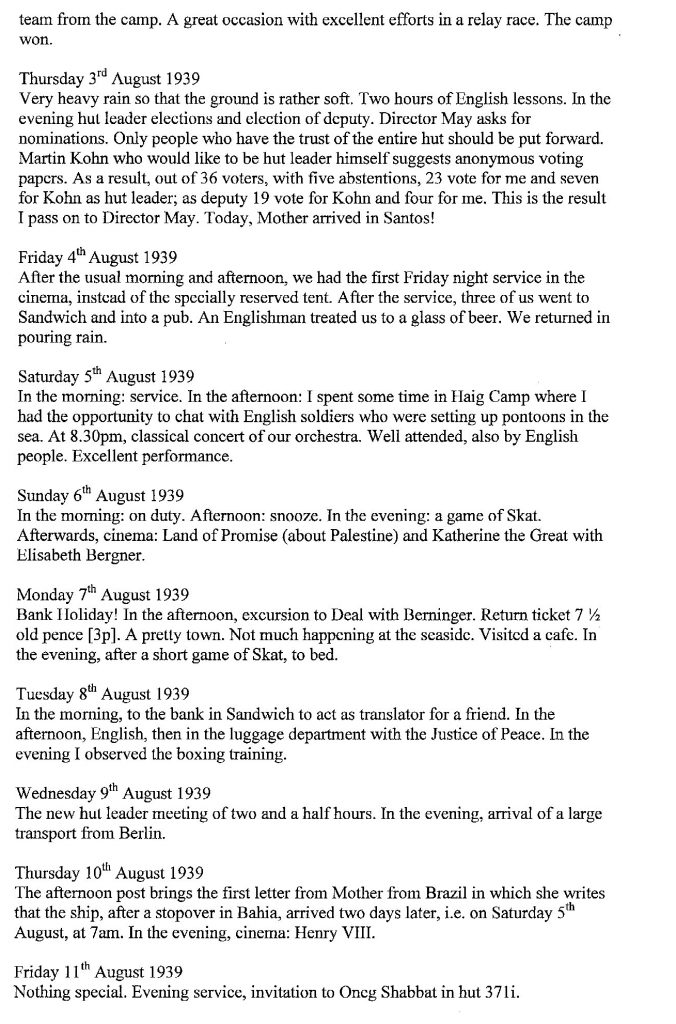 Lothar Nelken, Kitchener Camp diary, 1939 to 1940, page 5, 3 August to 11 August 1939